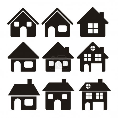 Illustration for Illustration of home icons, house silhouettes on white background, vector illustration - Royalty Free Image