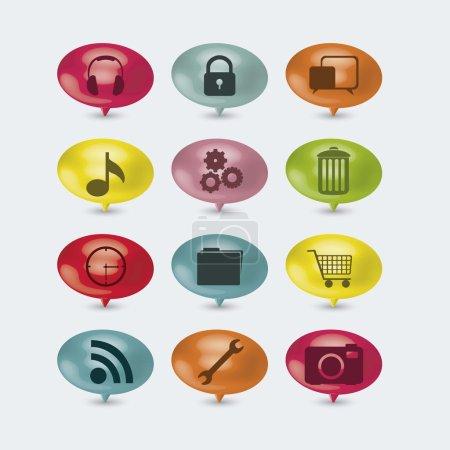 Illustration pour Illustration de boutons colorés avec des icônes pour les entreprises et les réseaux sociaux, illustration vectorielle - image libre de droit
