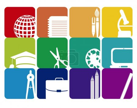 Photo pour Illustration des icônes de l'école, des icônes des élèves, retour en classe. illustration vectorielle - image libre de droit