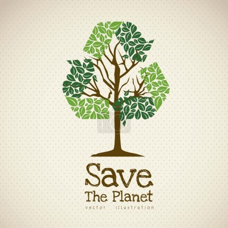 Illustration for Illustration of recycling with ecological icons, Save the Planet. vector illustration - Royalty Free Image