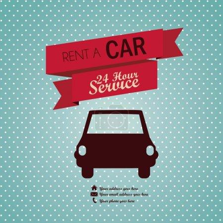 Illustration pour Illustration de location de voiture, Illustration d'étiquette Vintage, illustration vectorielle - image libre de droit