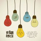 Illustration of differents types of bulbs with vintage colors vector illustration