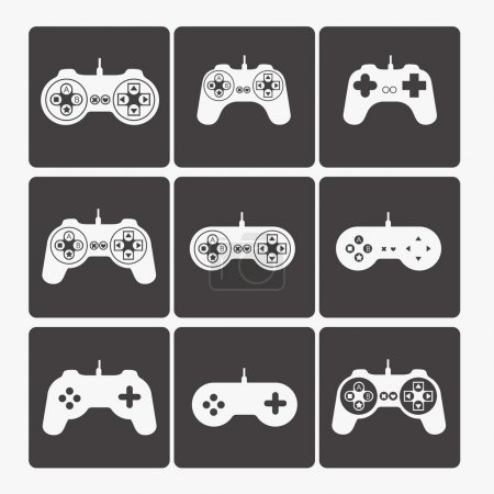 Illustration for Illustration of game controls, Videogames Silhouettes, vector illustration - Royalty Free Image