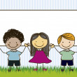 Illustration of kids team, in cartoon style and sk...
