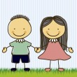 Illustration of kids team or couple, in cartoon st...