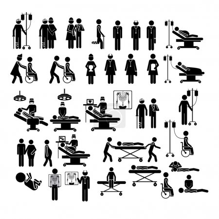 Illustration for Medical silhouettes over white background vector illustration - Royalty Free Image
