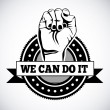 We can do it seal over white background vector ill...