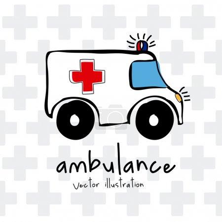 Illustration for Ambulance design over cross background vector illustration - Royalty Free Image