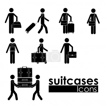 Illustration for Suitcases icons over white background vector illustration - Royalty Free Image