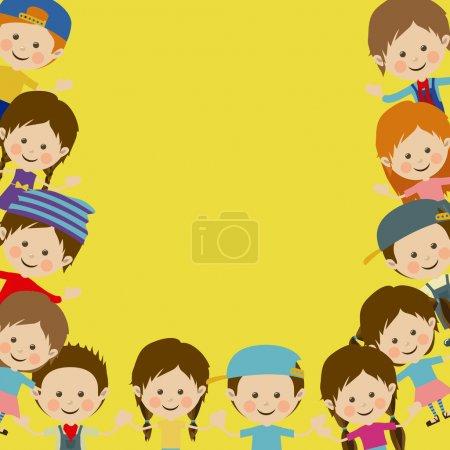 Photo pour Dessin des enfants sur fond jaune illustration vectorielle - image libre de droit