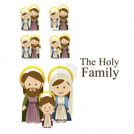 Holy family design over white background vector il...