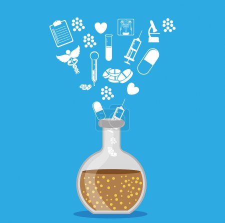 Illustration for Medical icons over blue background vector illustration - Royalty Free Image