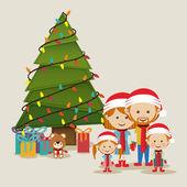Merry christmas design over beige background vector illustration
