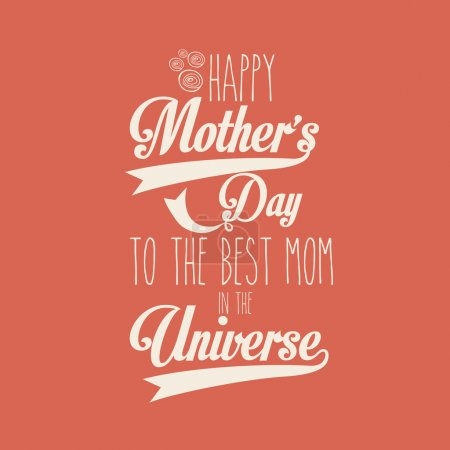 Illustration for Happy mothers day over red background vector illustration - Royalty Free Image