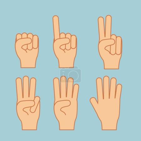 Illustration for Hands gesture over blue background vector illustration - Royalty Free Image