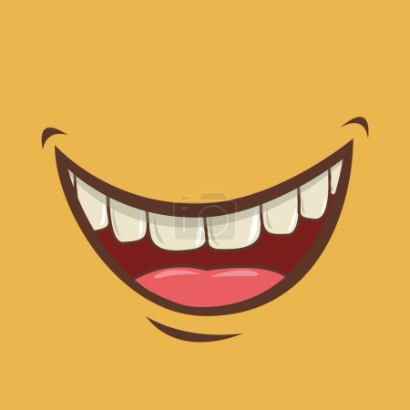Illustration for Mouth design over yellow background vector illustration - Royalty Free Image