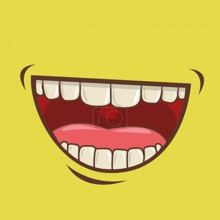 Mouth design over green background vector illustra...