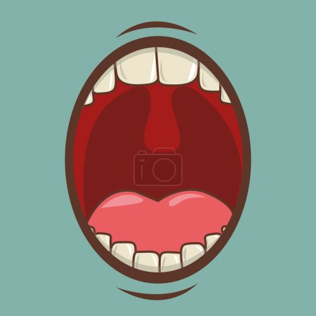Mouth design over blue background vector illustrat...
