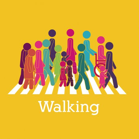 Illustration for Walking design over yellow background vector illustration - Royalty Free Image