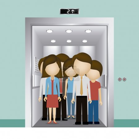 Elevator design over blue background, vector illus...