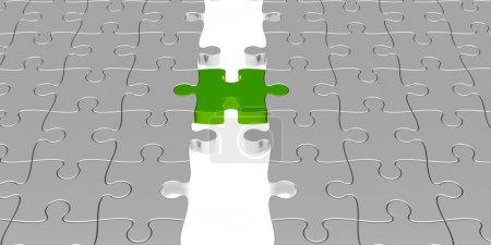 Photo pour Puzzle de deux pièces reliées avec la pièce de puzzle verte, personne en particulier concept - image libre de droit