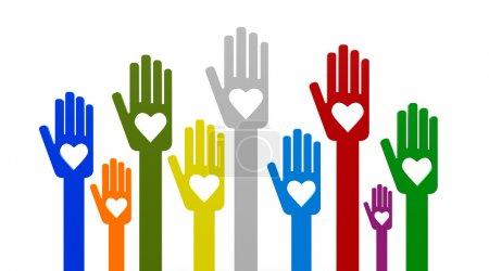 Happy volunteering hands representing love, three-...