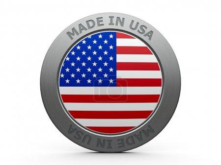 Photo pour Rendre d'emblème - fabriquée aux Etats-Unis, en trois dimensions - image libre de droit