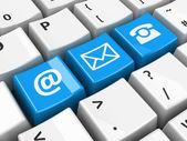 Počítačové klávesnice modré kontakt