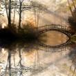Autumn - Old bridge in autumn misty park...