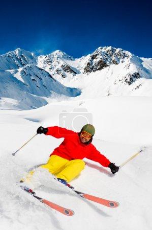 Freeride in fresh powder snow
