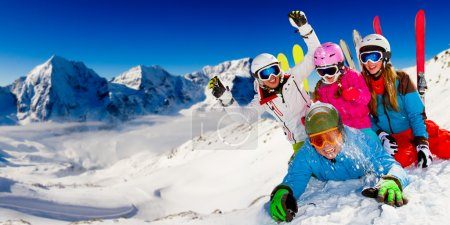 Photo for Ski, snow, sun and winter fun - happy family ski team - Royalty Free Image