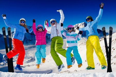 Photo for Ski, snow and winter fun - happy family ski team - Royalty Free Image