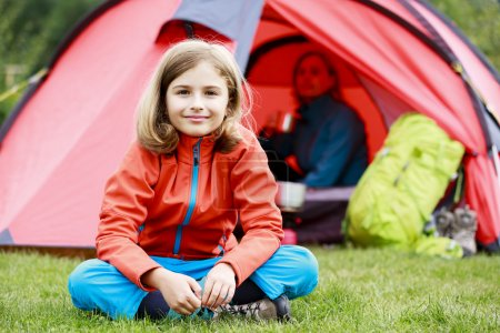 Camp in the tent - family with tent on the camping