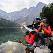 Hiking - family adventure on mountain trek