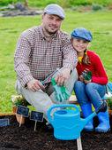 Zahradnictví, výsadba - mladá dívka pomáhá otci v zahradě