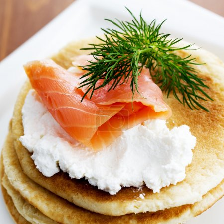 Gourmet smoked salmon and cream cheese blinis