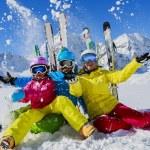 Skiing, winter, snow,  skiers, sun and fun - famil...