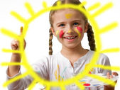 Happy summer, lovely child - Cute girl painting sun