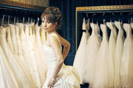 Bride in a wedding store