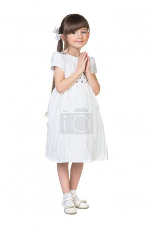 Photo for Little girl isolated on white background - Royalty Free Image