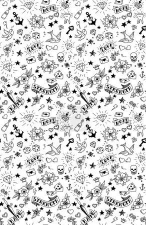 Illustration pour Modèle d'éléments tatouages old school, illustration vectorielle - image libre de droit