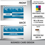 Modern business card with skyline background which adds modern and fancy look to your business Card is suitable for a wide variety of usesVector file makes it easy to use and customize