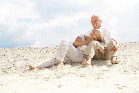Magnificent elderly couple enjoy the sea breeze