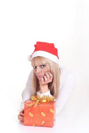 blonde in santa hat