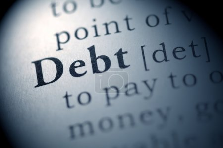 Photo for Fake Dictionary, Dictionary definition of the word Debt. - Royalty Free Image