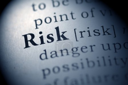 Photo for Fake Dictionary, Dictionary definition of the word Risk. - Royalty Free Image