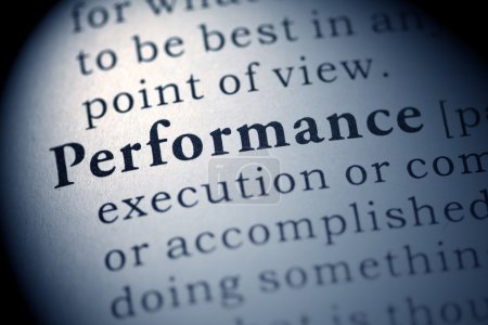 Photo for Fake Dictionary, Dictionary definition of the word Performance. - Royalty Free Image