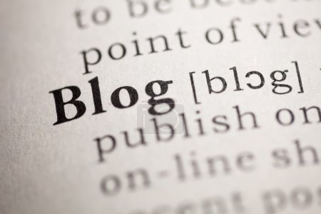 Photo for Fake Dictionary, Dictionary definition of the word Blog. - Royalty Free Image