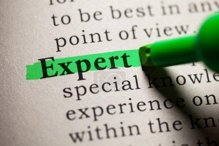 Photo pour Faux dictionnaire, définition du mot expert . - image libre de droit