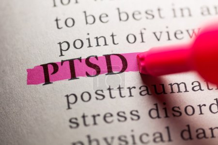 Photo for Fake Dictionary, definition of the word PTSD. - Royalty Free Image